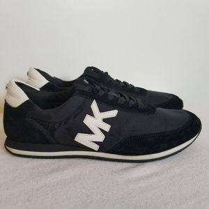 Michael Kors Black Leather Nylon Logo Sneaker